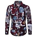 billige Skjorter-Bomull / Lin Klassisk krage Store størrelser Skjorte Herre - Geometrisk / Grafisk, Trykt mønster Grunnleggende / Bohem Strand Regnbue / Langermet