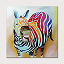 cheap Abstract Paintings-Oil Painting Hand Painted - Animals Pop Art Modern Rolled Canvas