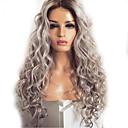 Χαμηλού Κόστους Τουπέ-Συνθετικές Περούκες Κυματομορφή Σώματος Kardashian Μέσο μέρος Περούκα πολύ μακριά Γκρι Συνθετικά μαλλιά 60~65 inch Γυναικεία Νέα άφιξη Σκούρο γκρι