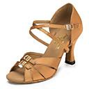 Χαμηλού Κόστους Παπούτσια χορού λάτιν-Γυναικεία Παπούτσια Χορού Σατέν Παπούτσια χορού λάτιν Κουμπί Τακούνια Κουβανικό Τακούνι Εξατομικευμένο Καφέ