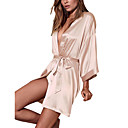 cheap Lingerie-Women's Bow Sexy Robes / Satin & Silk Nightwear Solid Colored Blushing Pink Gray Royal Blue One-Size