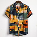 billige Crossbody-vesker-Lin Klassisk krage Skjorte Herre - Stripet / Tribal, Trykt mønster Strand Gul / Kortermet