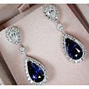 Χαμηλού Κόστους Σκουλαρίκια-Γυναικεία Cubic Zirconia Σκουλαρίκι Πεπαλαιωμένο Στυλ Κρεμαστό Πολυτέλεια Κρεμαστό Προσομειωμένο διαμάντι Σκουλαρίκια Κοσμήματα Σκούρο μπλε Για Γάμου Πάρτι Αρραβώνας 1 Pair