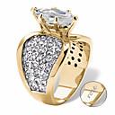 Χαμηλού Κόστους Χαραγμένο Δαχτυλίδια-Εξατομικευμένη Προσαρμοσμένη Διάφανο Cubic Zirconia Δαχτυλίδι Κλασσικό Δώρο Υπόσχεση Φεστιβάλ Geometric Shape 1pcs Χρυσό