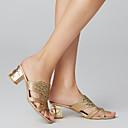 ราคาถูก รองเท้าแตะผู้หญิง-สำหรับผู้หญิง รองเท้าแตะ Block Heel เปิดนิ้ว หินประกาย PU ฤดูใบไม้ผลิ / ฤดูร้อน ผ้าขนสัตว์สีธรรมชาติ / สีเขียว / สีน้ำเงินกรมท่า / EU40