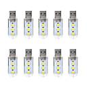 Χαμηλού Κόστους Φώτα διακόσμησης και γκάτζετ-10pcs LED νύχτα φως / Φως βιβλίου Θερμό Λευκό / Άσπρο USB Με θύρα USB 5 V