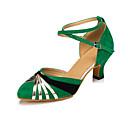 ราคาถูก รองเท้าเต้นโมเดิร์นและรองเท้าบัลเล่ต์-สำหรับผู้หญิง รองเท้าเต้นรำ ไนลอน โมเดอร์น Splicing ส้น ส้นCuban ตัดเฉพาะได้ สีเขียว / Performance