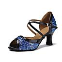 baratos Sapatos de Dança Latina-Mulheres Sapatos de Dança Sintéticos Sapatos de Dança Latina Lantejoula Salto Salto Cubano Personalizável Azul / Espetáculo