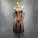 ราคาถูก ชุดเต้นรำลาติน-ชุดเต้นละติน ชุดเดรสต่างๆ สำหรับผู้หญิง Performance Modal แพทเทิร์นหรือลายพิมพ์ / กระโปรงระบาย / ข้อต่อ เสื้อไม่มีแขน ชุดเดรส