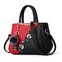cheap Top Handles & Tote Bags-Women's Zipper / Flower PU(Polyurethane) / PU Top Handle Bag Color Block Black / Purple / Blushing Pink / Fall & Winter