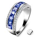 ราคาถูก แหวน-ส่วนบุคคล ที่กำหนดเอง สีน้ำเงิน Cubic Zirconia แหวน คลาสสิค ของขวัญ คำมั่นสัญญา เทศกาล Geometric Shape 1pcs สีน้ำเงิน