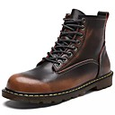 billige Herrestøvler-Herre Combat-boots Nappa Lær Vinter Støvler Ankelstøvler Svart / Brun / Vin