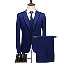 billiga Vuxenkostymer-Blå Enfärgad Standardpassform Polyester Kostym - Trubbig Singelknäppt Två knappar / kostymer
