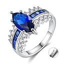 billige Graverte Ringer-personlig tilpasset Blå Kubisk Zirkonium Ring Zirkonium Klassisk Indgraveret Gave Love Festival Oval 1pcs Blå / Laser gravering