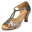 זול נעלי עקב לנשים-בגדי ריקוד נשים נעלי ריקוד סינטטיים נעליים לטיניות פאייטים / צדדית חלולה עקבים עקב קובני מותאם אישית אפור / הצגה / עור