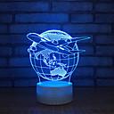 זול אורות 3D הלילה-כדור הארץ מנורת שולחן מגע 3D בסיס לבן יפה 7 צבע החלפת מנורת שולחן לחדר השינה