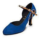 ราคาถูก รองเท้าแบบลาติน-สำหรับผู้หญิง รองเท้าเต้นรำ ไนลอน โมเดอร์น หินประกาย / คริสตัล / พลอยเทียม ส้น ส้นป้าน ตัดเฉพาะได้ ฟ้า / Performance