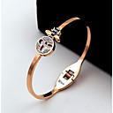 billige Graverte Ringer-personlig tilpasset Svart Hvit Krystall Armbånd Titanium Stål Klassisk Gave Love Festival Geometrisk Form 1pcs Rose Gull