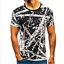 baratos Fantasia de Dança-Homens Tamanho Europeu / Americano Camiseta Listrado Decote Redondo Branco / Manga Curta
