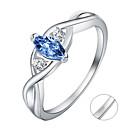 ราคาถูก แหวน-ส่วนบุคคล ที่กำหนดเอง สีน้ำเงิน Cubic Zirconia แหวน คลาสสิค ของขวัญ คำมั่นสัญญา เทศกาล Geometric Shape 1pcs สีเงิน