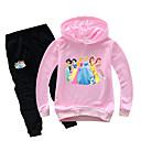 Χαμηλού Κόστους Σετ ρούχων για κορίτσια-Παιδιά Νήπιο Κοριτσίστικα Βασικό Στάμπα Στάμπα Μακρυμάνικο Κανονικό Κανονικό Βαμβάκι Σετ Ρούχων Ανθισμένο Ροζ