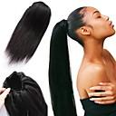 זול פיאות תחרה משיער אנושי-מארג שיער קוקו נשים שיער אנושי חתיכת שיער הַאֲרָכַת שֵׂעָר ישר 14 אינץ' לבוש יומיומי / שחור