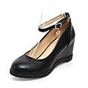 זול נעלי עקב לנשים-בגדי ריקוד נשים עקבים עקב טריז PU אביב / אביב קיץ לבן / שחור / שקד / מסיבה וערב
