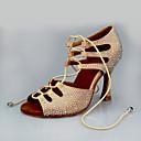 baratos Sapatos de Dança Latina-Mulheres Sapatos de Dança Cetim Sapatos de Dança Latina Cristal / Strass Salto Salto Carretel Amêndoa / Espetáculo / Couro / Ensaio / Prática