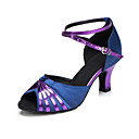 baratos Sapatos de Dança Latina-Mulheres Sapatos de Dança Cetim Sapatos de Dança Latina Recortes Salto Salto Cubano Personalizável Roxo Escuro / Espetáculo