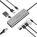 ราคาถูก USB ฮับ และ สวิตช์-Lention cb-tp-c69heacr usb 3.0 ประเภท c เพื่อ usb 3.0 ประเภท b / sd การ์ด / บัตร tf / rj45 / usb 2.0 type c usb hub 10 พอร์ตสนับสนุนฟังก์ชั่นการส่งมอบพลังงาน / กับเครื่องอ่านบัตร (s) / ไฟ led