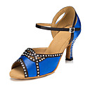 Χαμηλού Κόστους Παπούτσια χορού λάτιν-Γυναικεία Παπούτσια Χορού Σατέν Παπούτσια χορού λάτιν Τεχνητό διαμάντι Τακούνια Τακούνι καμπάνα Εξατομικευμένο Μπλε / Επίδοση