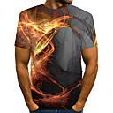 Χαμηλού Κόστους Walkie Talkie-Ανδρικά Μέγεθος EU / US T-shirt Κλαμπ Κομψό στυλ street / Εξωγκωμένος Συνδυασμός Χρωμάτων / 3D / Γραφική Στρογγυλή Λαιμόκοψη Στάμπα Γκρίζο / Κοντομάνικο