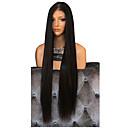 Χαμηλού Κόστους Συνθετικές περούκες με δαντέλα-Συνθετικές Περούκες Φυσικό ευθεία Κούρεμα με φιλάρισμα Περούκα πολύ μακριά Μαύρο Συνθετικά μαλλιά 76~80 inch Γυναικεία συνθετικός Μαύρο