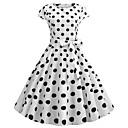 Χαμηλού Κόστους Κούρτινες Παραθύρου-Audrey Hepburn Χωριατοπούλα Πουά Ρετρό / Βίντατζ Δεκαετία του 1950 Rockabilly Φορέματα Χορός μεταμφιεσμένων Γυναικεία Στολές Λευκό Πεπαλαιωμένο Cosplay Σχολείο Γραφείο Φεστιβάλ Αμάνικο Μεσαίου Μήκους