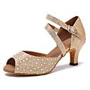 Χαμηλού Κόστους Παπούτσια χορού λάτιν-Γυναικεία Παπούτσια Χορού Συνθετικά Παπούτσια χορού λάτιν Τεχνητό διαμάντι / Κρύσταλλο / Στρας Τακούνια Κουβανικό Τακούνι Εξατομικευμένο Χρυσό / Επίδοση