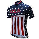 baratos Camisas Para Ciclismo-21Grams American / EUA Bandeiras Homens Manga Curta Camisa para Ciclismo - Vermelho + azul Moto Blusas Respirável Pavio Humido Secagem Rápida Esportes Terylene Ciclismo de Montanha Ciclismo de Estrada