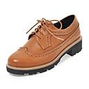 ราคาถูก รองเท้าOxfordผู้หญิง-สำหรับผู้หญิง รองเท้า Oxfords ส้นหนา PU ฤดูใบไม้ผลิ / ฤดูใบไม้ร่วง & ฤดูหนาว สีดำ / สีน้ำตาลอ่อน