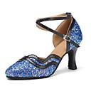 ราคาถูก ชุดเต้น Ballroom-สำหรับผู้หญิง รองเท้าเต้นรำ Synthetics โมเดอร์น ปักเลื่อม ส้น ส้นCuban ตัดเฉพาะได้ ฟ้า / Performance