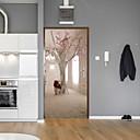billige Veggklistremerker-kreative tre dør klistremerker dekorative vanntette dørdekal dekorasjon - vegg vegg klistremerker blomster / botanisk / landskap studie rom / kontor / spisestue / kjøkken