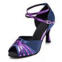 baratos Sapatos de Dança Latina-Mulheres Sapatos de Dança Cetim Sapatos de Dança Latina Recortes Salto Salto Carretel Personalizável Roxo Escuro / Espetáculo