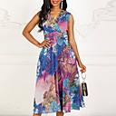 povoljno Modne naušnice-Žene Sexy Slim Šifon Swing kroj Haljina - Drapirano, Cvjetni print V izrez Midi / Praznik / Plaža