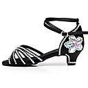 baratos Kids' Flats-Para Meninas Sapatos de Dança Cetim Sapatos de Dança Latina Presilha / Detalhes em Cristal / Cristal / Strass Salto Salto Grosso Marron / Arco-íris / Espetáculo