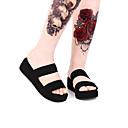 ราคาถูก Fashion Fabric-สำหรับผู้หญิง รองเท้า Punk รองเท้าส้นตึก รองเท้า สีพื้น 5 cm สีดำ หนังเทียม ชุดฮาโลวีน