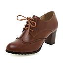 olcso Női topánkák és vászoncipők-Női Félcipők blokk Heel PU Tavasz / Ősz & tél Szürke / Zöld / Sötétbarna