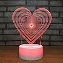 billige Jars & Boxes-1pc Heart Shape 3D nattlys Usb Kreativ / Bursdag / Med USB-port 5 V