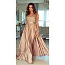 זול שמלות שושבינה-גזרת A צווארון V עד הריצפה סאטן ערב רישמי שמלה עם אפליקציות / סרט על ידי JUDY&JULIA