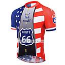 povoljno Biciklističke majice-21Grams American / USA Državne zastave Muškarci Kratkih rukava Biciklistička majica - Red+Blue Bicikl Biciklistička majica Majice Prozračnost Ovlaživanje Quick dry Sportski Terilen Brdski biciklizam