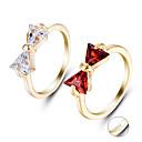 billige Graverte Ringer-personlig tilpasset Klar Kubisk Zirkonium Ring Klassisk Gave Love Festival Geometrisk Form 1pcs Sølv Rød
