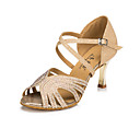 povoljno Cipele za latino plesove-Žene Plesne cipele Sintetika Cipele za latino plesove Štras Štikle Prozirni peta zlatnih ploča Zlato / Koža