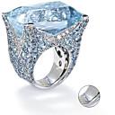 Χαμηλού Κόστους Χαραγμένο Δαχτυλίδια-Εξατομικευμένη Προσαρμοσμένη Μπλε Cubic Zirconia Δαχτυλίδι Κλασσικό Δώρο Υπόσχεση Φεστιβάλ Geometric Shape 1pcs Ασημί